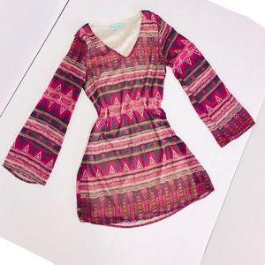 Filly Flair Aztec Boho long sleeve dress Sz Small